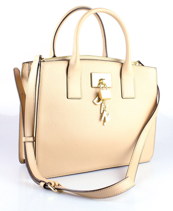 DKNY Beige Leather Padlock Tote GH