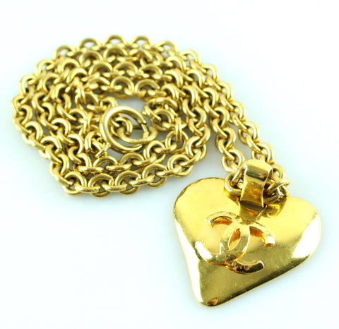 Chanel Chunky Heart Goldtone Necklace 1993
