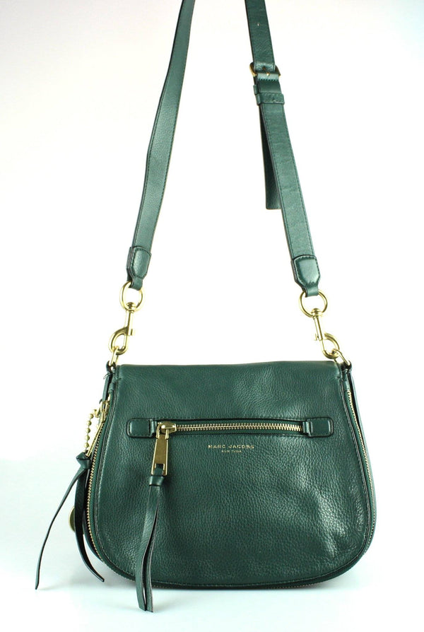 Marc Jacobs Jewel Green Leather Large Recruit Saddle Bag