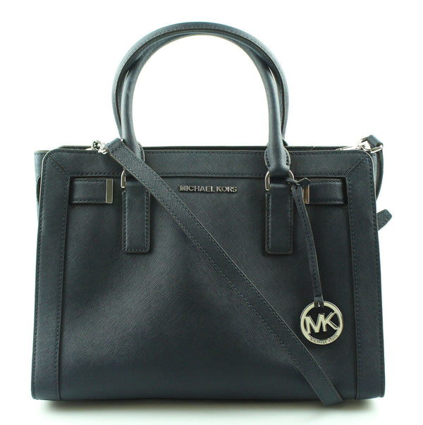 Michael Kors Dillon Satchel Navy And Silver HW With Strap