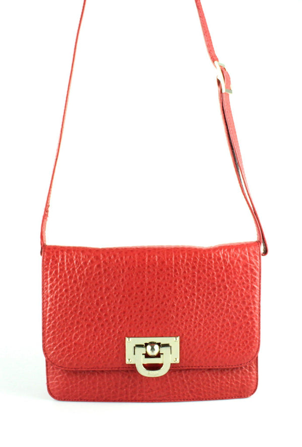 DKNY Red Grained Leather Turnlock Crossbody GH