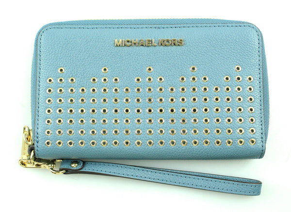 Michael Kors Blue Tech Wallet With Gold Rivets