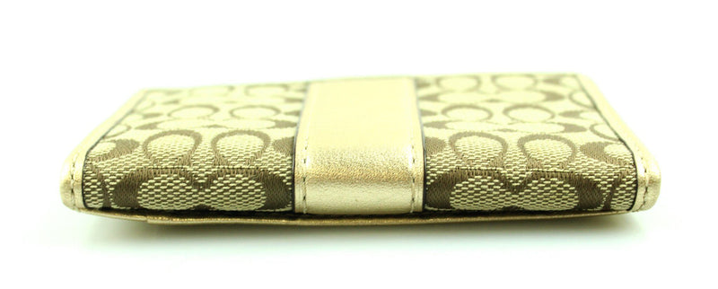 Coach Card Case Signature Canvas Gold