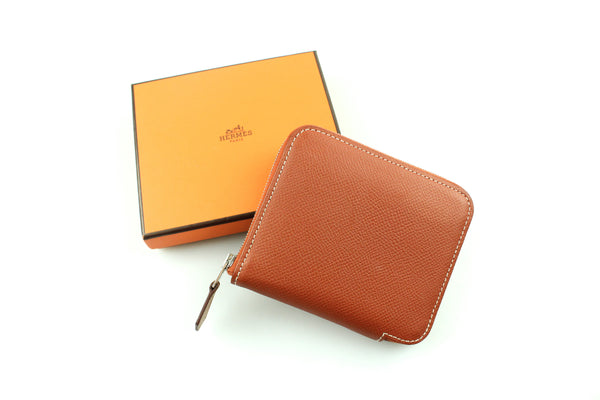 Hermes Gold Epsom Leather Silk'In Compact Wallet Astrologie Print
