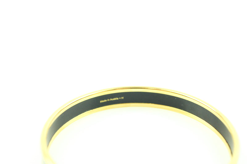 Hermes Chain D'Ancre Black And Gold Bangle 70