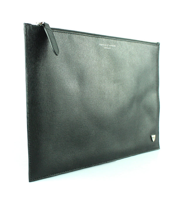 Aspinal Of London Black Pebble Large Essential Flat Pouch RRP €100