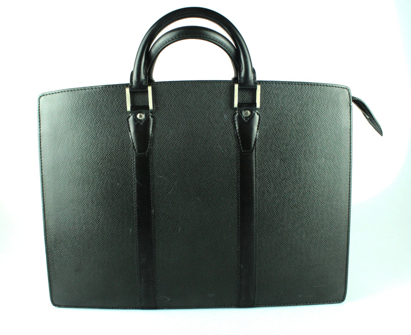 Louis Vuitton Lozano Taiga Leather Briefcase Black VI0011