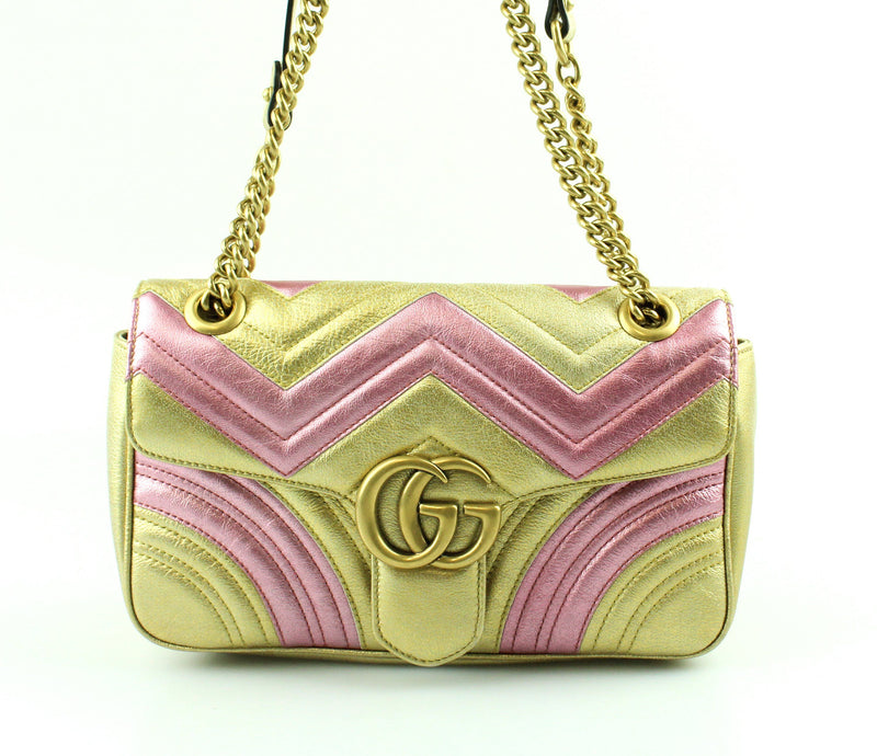 Gucci Metallic Matelasse Marmont Pink and Gold Small