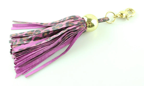 Mulberry Smudged Leopard Tassel Bag Charm