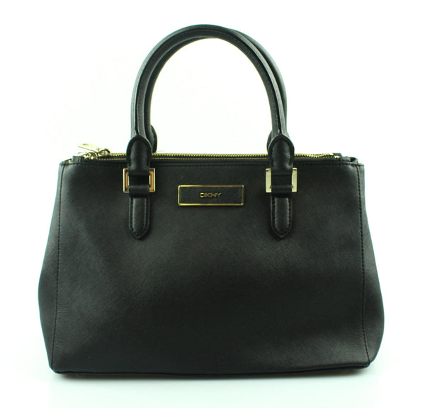 DKNY Black textured Leather Double Zip Tote GH