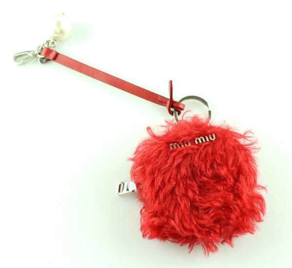 Miu Miu Red Furry (Faux Fur) Round Coin Purse