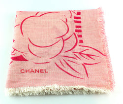 Chanel Pink Tone Silk Blend Camelia Scarf