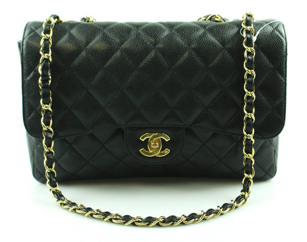 Chanel Vintage Black Caviar Leather Jumbo Single Flap Gold 2004/05