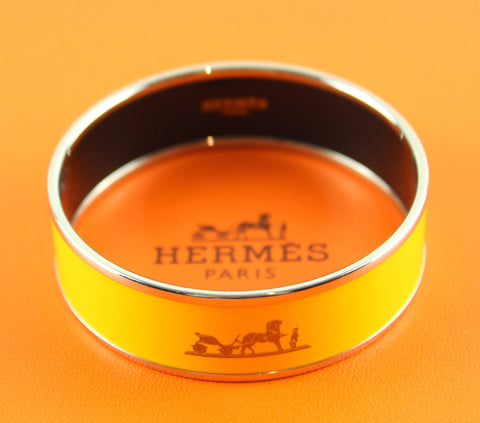 Hermes Juane D'Or Logo Print Enamel Bangle Small Silvertone RRP €480