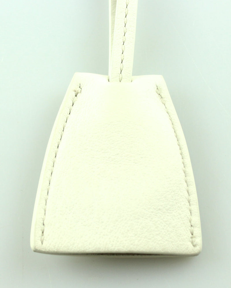 Mulberry White Leather Clochette Key Ring