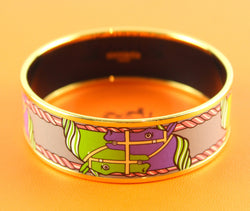 Hermes Paris Equestrian Print Enamel Bangle Small Size 62 Goldtone RRP €480