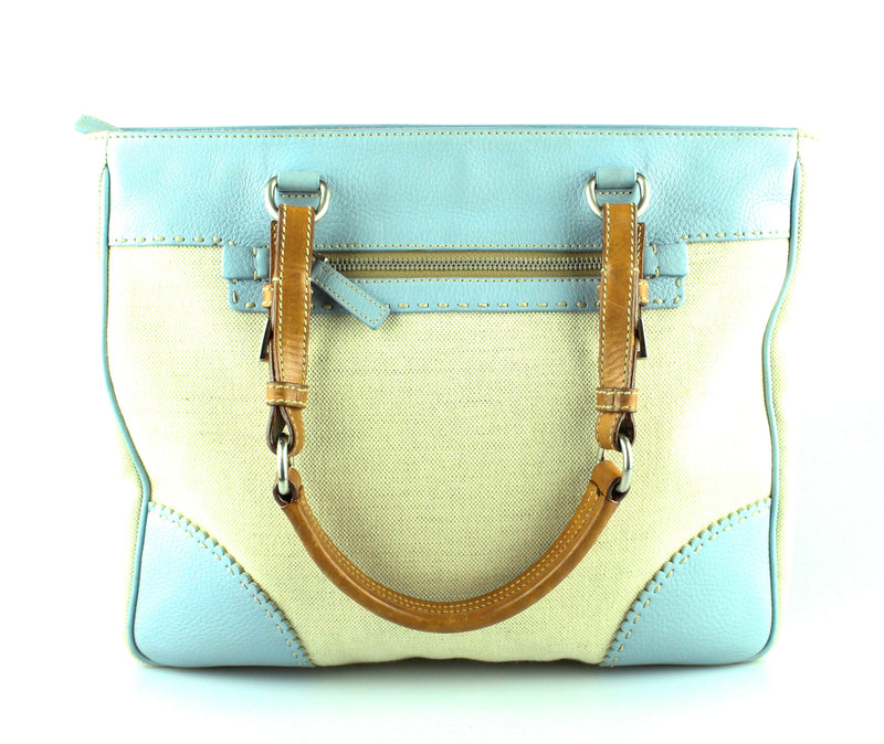 Prada Canvas And Pale Blue Leather Tote