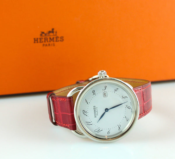 Hermes Arceau Watch Rouge Vif Medium 36mm  Croc Leather Strap (RRP €3000)