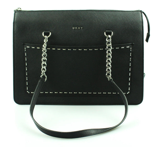 DKNY Black Textured Leather Studded Structured Tote