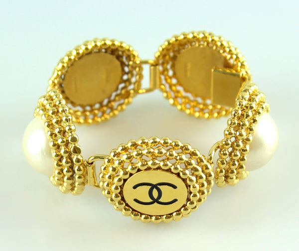 Chanel Vintage Gold Tone CC Pearl Large Cuff