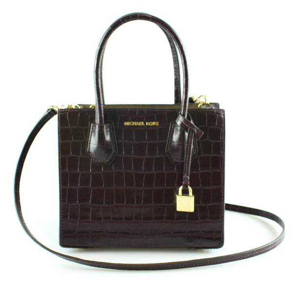 Michael Kors Damson Croc Embossed Mini Mercer Crossbody