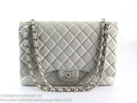 Chanel Maxi Grey Soft Caviar Classic Double Flap SH 2010
