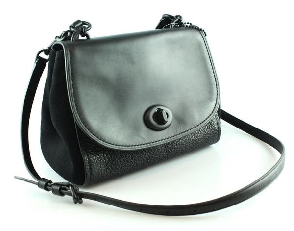 Coach Faye All Black Suede And Leather Satchel