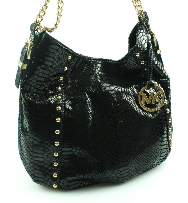 Michael Kors Black Faux Snake Studded Hobo GH MK