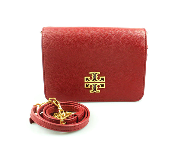 Tory Burch Red Leather Messenger Chain Bag