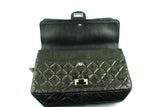 Chanel 2.55 Reissue 227 Black Glazed Calfskin Leather With Silver Hardware