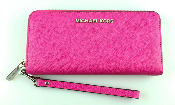 Michael Kors Pink Tech Saffiano Zipped Wallet Long