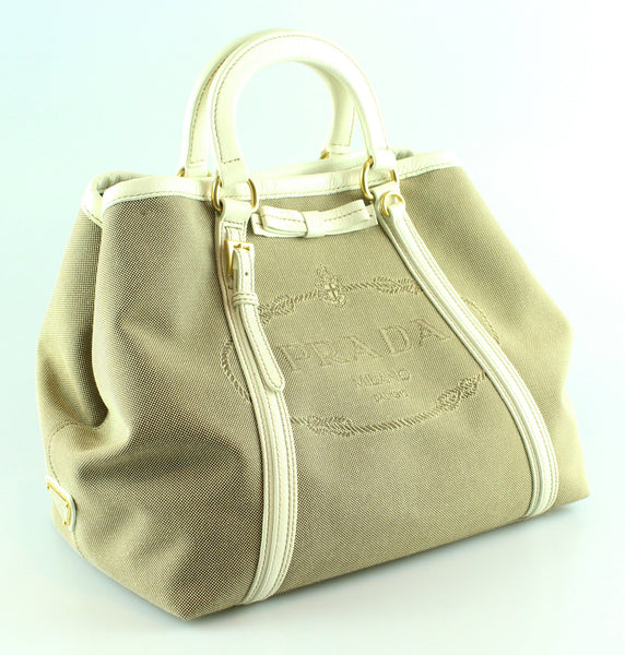 Prada Logo Canvas Mini Tote With Shoulder Strap