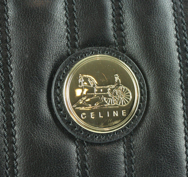 Celine Black Calf Leather Shopping Tote