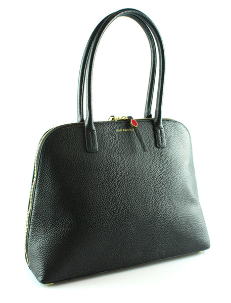 Lulu Guinness Black Grained Leather Ali Tote