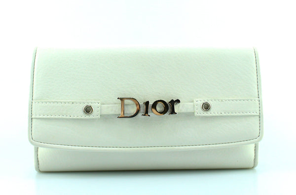 Christian Dior White Flap Mono Leather Wallet