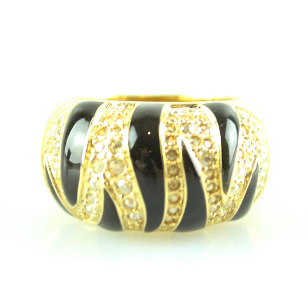 Swarovski Tiger Print Hannibal Black And Gold Ring
