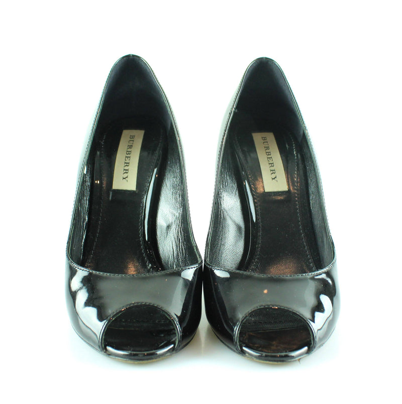 Burberry Black Patent Peep Tote Courts EUR 37 UK 4