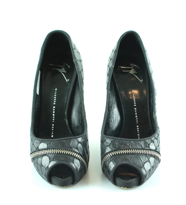 Giuseppe Zanotti Snake And Zip Detail Peep Toe Courts EUR 37 UK 4