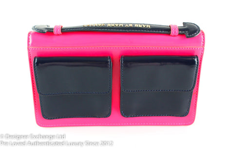Marc By Marc Jacobs Neon Pink/Navy Satchel Style Clutch