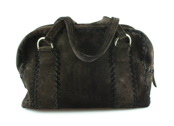 Prada Brown Suede Large Stitch Bauletto