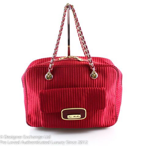 Love Moschino Red Fabric Chain Tote GH