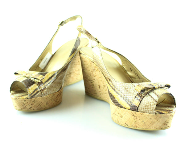 Stuart Weitzmann Snake Print Bow Cork Wedges EUR 37 UK 4