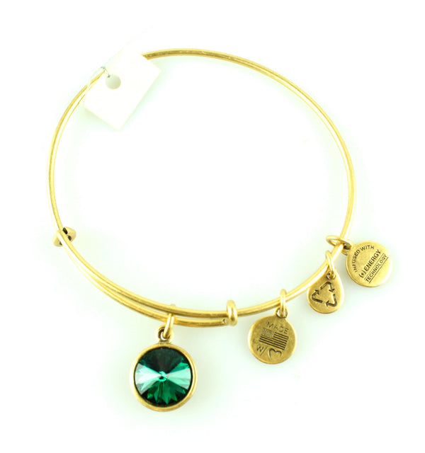 Alex And Ani Gold Green Stone Bangle