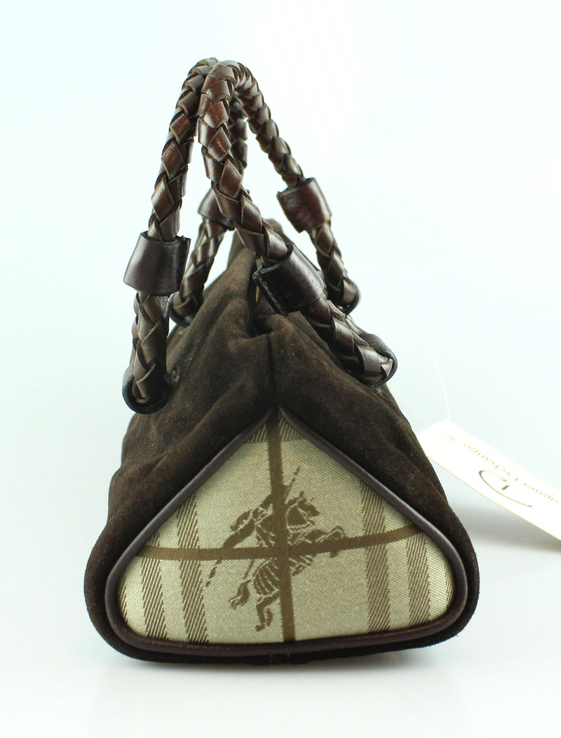 Burberry Suede And Heritage Check Woven Handle Mini Tote