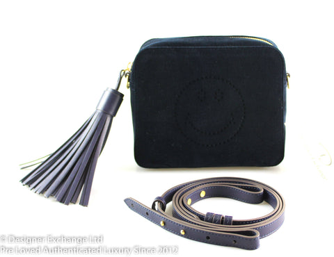 Anya Hindmarch Navy Velvet Smiley Cross Body GH