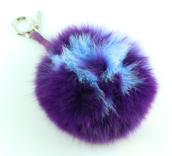 Fendi Purple Blue Fox Fur Key Chain Pom Pom