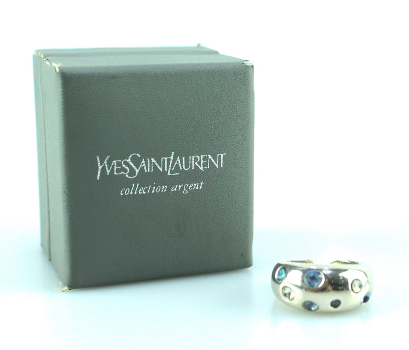 Yves Saint Laurent Vintage Silvertone Costume Stone Ring M