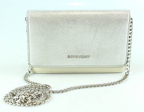 Givenchy Colour Block Metallic Silver/Cream/Tan Wallet On Chain