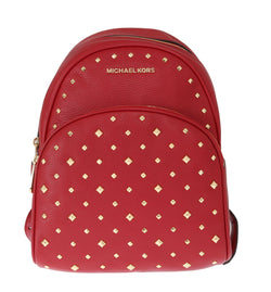 Michael Kors Red Abbey Studded Leather Backpack