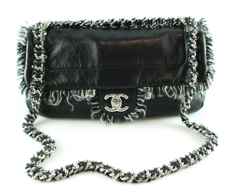 Chanel Black Lambskin Wool Trim Flap Bag 2010
